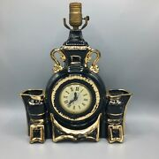 Vintage Lanshire Black Ceramic Gold Plated Lamp With Clock 1950s