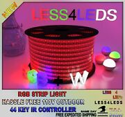 110v - 120v Led Strip Light Rgb+w Outdoor Holiday 5050 3528 Flexible Up To 330ft