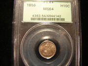 1856 Seated Half Dime Graded By Pcgs As Ms64 As Pictured In An Ogh.