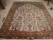 Exclusive Tree Of Life Peace Birds Hand Knotted Rug Silk Wool Carpet 10 X 7'