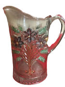 Antique Water Tea Pitcher Clear Glass Raised Flowers Leaves Gold Trim Vintage