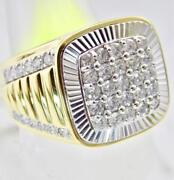 Large Mens Solid 14k Gold 1.77ct Diamond Signet President Engagement Band Ring