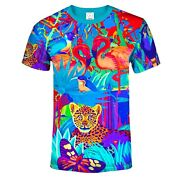 All Over 3d Tropical Lion Butterfly Animal Floral Blacklight Uv Neon Glow Tee