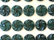 Vintage Buttons - 24 Dark Green 2-hole Wheel 7/8 Casein Buttons Made In France