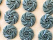Vintage Buttons - 24 Light Gray Casein 2-hole 7/8 Wheel Buttons - France