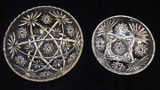 Bowls Clear Star Of David Design Heavy Glass Anchor Hocking Saw Tooth Edge Set 2