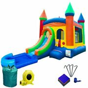Rainbow Inflatable Water Slide Splash Pool Kids Bounce House Castle With Blower