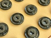 Vintage Buttons - 24 Iron Gray 2-hole Raised Center Casein 5/8 Buttons France