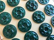 Vintage Buttons - 24 Jade Green 4-hole Carved Dimpled Casein 7/8 Buttons