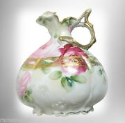 Nippon Hand Painted Pitcher - Roses And Gold Designs