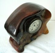 Weller Louwelsa Art Pottery Vintage Mantle Clock With Hand Painted Floral