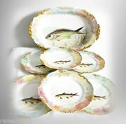 Limoges Hand Painted Fish Platter And Plates Set