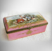 Limoges Dresser Box With Victorian Courting Scene - Hinged Lid
