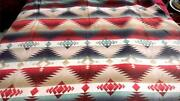 Vintage Wool Or Cotton Blanket With Stylized Indian Design