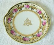 Nippon Round Hand Painted Dish With Pierced Handles - Gold Highlights And Roses
