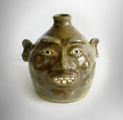 Clay Folk Art Pottery Jug With Face And Clay Teeth - Artist Signed-