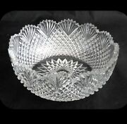 Crystal Briilliant Cut Bowl With Sawtooth Rim And Pineapple And Fan Design