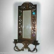 Vintage Metal Mirror- Faceted Stones And Candle Holder