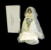 Princess Dianna Porcelain 18 Bride Doll By Danbury Mint + Box And Drinking Glass