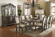 Royal 7pc Dining Set Double Pedestal Beautiful Carved Table W/6 Uph Seat Back