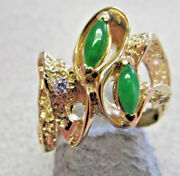 New High Quality Imperial Jade And Diamond Ring 14k Gold Size 6.5 Make Offer