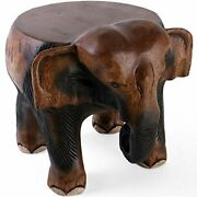 Fair Trade Hand Carved Wooden Elephant Small Table Stool Plant Pot Lamp Stand