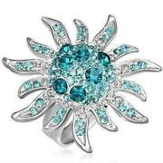 Blue Starburst Adjustable Stainless Steel Austrian Crystal Cocktail Ring