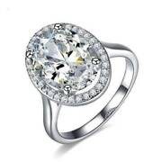 Celebrity 6 Carat Cz Oval Engagement Ring In 14k White Gold Plated Halo Setting