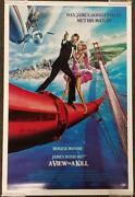 Roger Moore Signed 24x36 A View To A Kill Movie Poster B Beckett Bas Coa