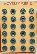 Vintage Buttons - 24 Sage Green/gray 2-hole Raised Center Casein 5/8 Buttons