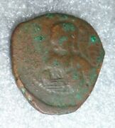 Ancient Joannes 1 Copper Greek Coin With Christ 969 Ad