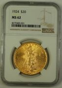 1924 Us St. Gaudens 20 Double Eagle Gold Coin Ngc Ms-62 Better A