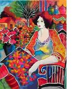 Patricia Govezensky Lady With Flowerview  Serigraph On Paper Rjcdss