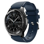Samsung Galaxy Gear S3 Frontier Stainless Steel Case Blue Black Silicone Strap
