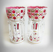 Pair Of White Glass Cut To Cranberry Lusters With Clear Prisms
