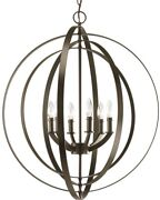 Pendant 6-light Cage Style In Antique Bronze With Concentric Pivoting Rings
