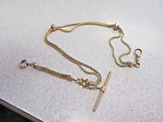 Gorgeous Pocket Watch Chain 14k Gold With Enamel And Swivel Etc. Make Offer