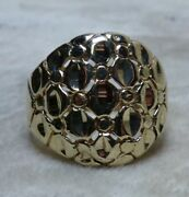 Vintage 10k Yellow Gold Diamond Cut Quilted Lattice Sz 6.25 Ring 16mm Band 4.5g