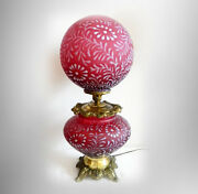 L G Wright - Fenton Large Gwtw Lamp In Cranberry Daisy And Fern