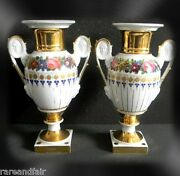 Pair Of Meissen Vases - Women And Male Faces In Handles - Gold Designs