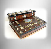 English Wood Lap Desk With Detailed Pearl And Porcelain Accents