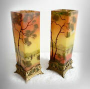 Pair Of French Art Glass Vases With Enamel Lake Trees Decoration