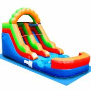 Pogo Blow Up Inflatable Water Slide With Blower And Tarp Rainbow 12ft Pool Slide