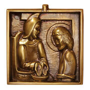 Brass Cast Stations Of The Cross 4 3/4 Square