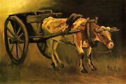 Vincent Van Gogh Cart With Red And White Ox 1884 Hand Painted Canvas Oil Painting