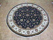 10 X 10and0392 Round Hand Knotted Black Persian Tabriz With Silk Oriental Rug G6107