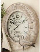Wall Clock 31 In. Vintage Round Wood Battery-operated Whitewashed-stained Brown
