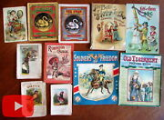 Children's Books 1870's-1910 Era Colorful Lot X 11 Old Pictures Italy Crusoe