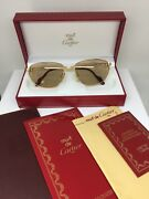 New Vintage Panthere Windsor Gold Sunglasses 1980s W/ Brown Lens