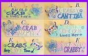 Choice Of 6 Whimsical Wooden Crab Signs W/ Sayings 20 X 7.5 Rope Hanger
